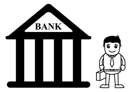 banking concept: Business Cartoon Character In Banking Concept