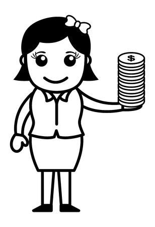 rich girl: Dollar Coins in Female Hand - Vector Illustration