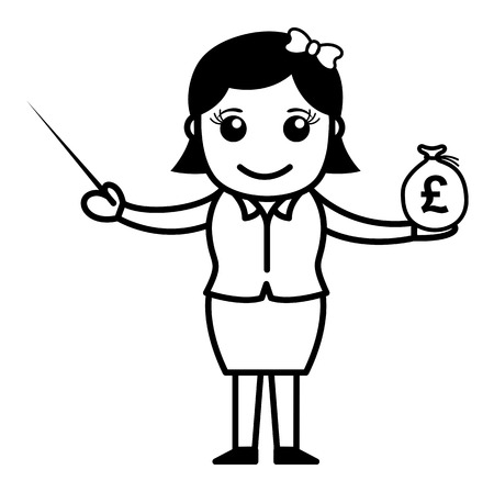 Lady Showing How to Invest Your Savings Ilustrace