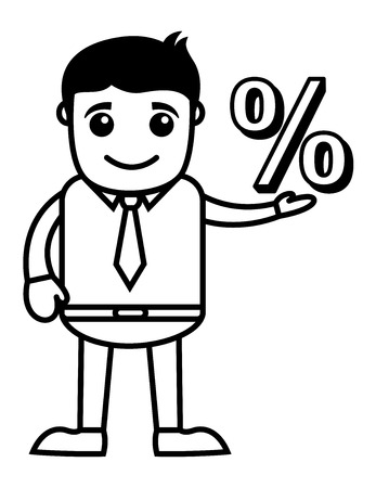 percentage sign: Man Having Percentage Sign in His Hand