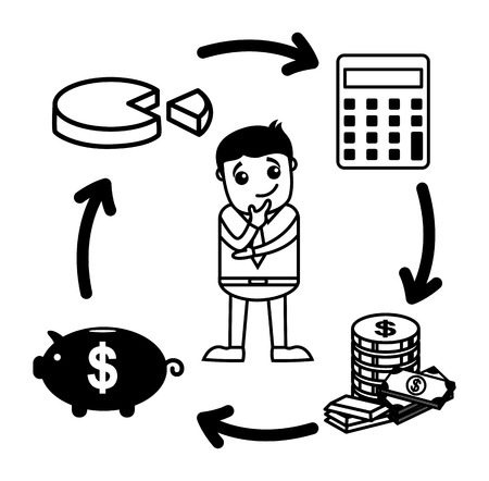 calculate: Business Cartoon Character In Budget, Saving, Calculate, Invest Circle Illustration