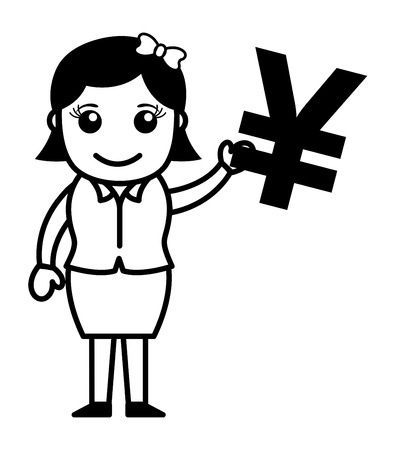 yen sign: Woman Having Yen Sign