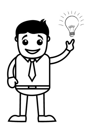 came: Business Cartoon Character Idea Came in Mind Illustration