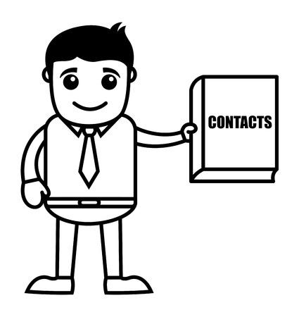 directorio telefonico: Hombre con directorio telef�nico - Cartoon negocios Vector de caracteres