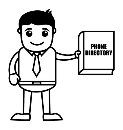 directory: Man with Phone Directory Illustration