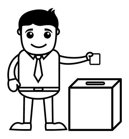 voter registration: Man Voting - Business Cartoon Character Vector
