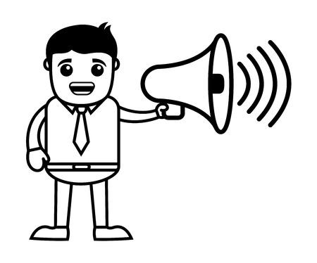 announcing: Man Announcing - Business Cartoon Character Vector