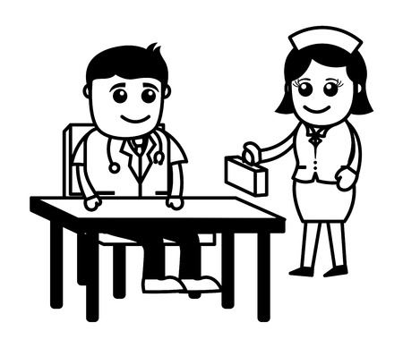 stethoscope boy: Doctor and Nurse - Medical Cartoon Characters Illustration