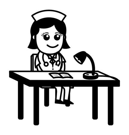 Receptionist Nurse - Medical Cartoon Characters Vector