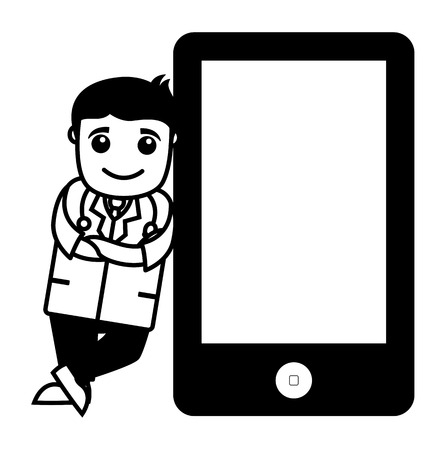 doctor tablet: Doctor Standing with Tablet Device - Office Cartoon Characters