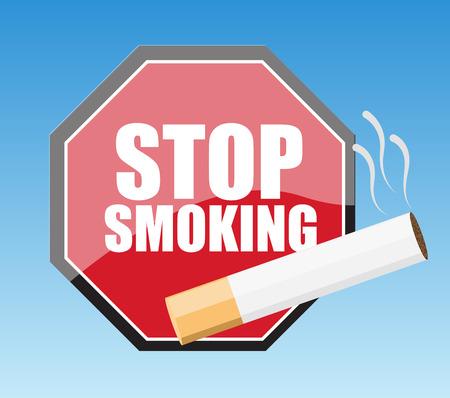 injurious: Stop Smoking Signboard Vector Illustration