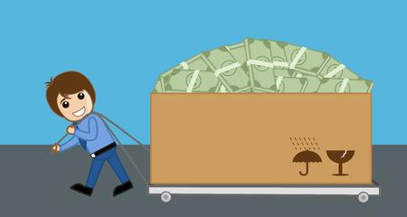 pulling money: Happy Man Pulling Cart Full of Money Box