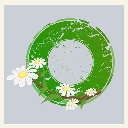 grunge banner: Grunge Floral Circular Banner