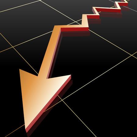 going down: Golden Business Graph Arrow going down