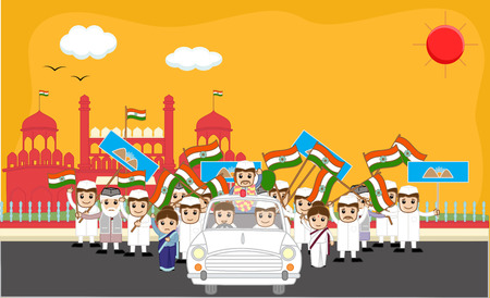 beg: Indian Political Characters Rally in Front of Red Fort Illustration