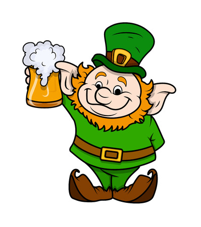 cartoon shamrock: Cartoon Leprechaun with Beer Glass