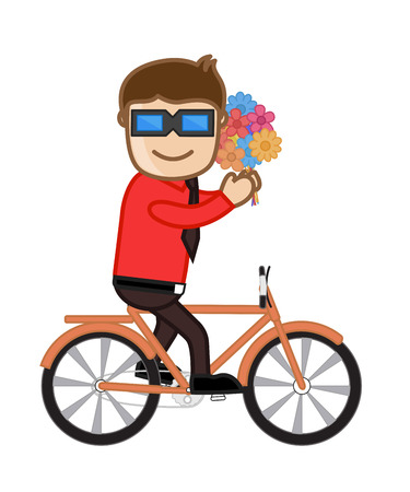 naughty woman: Funny Boy Riding Bicycle holding flowers Illustration