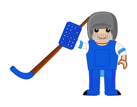 ice hockey player: Cartoon Ice Hockey Player - Standing Pose Illustration