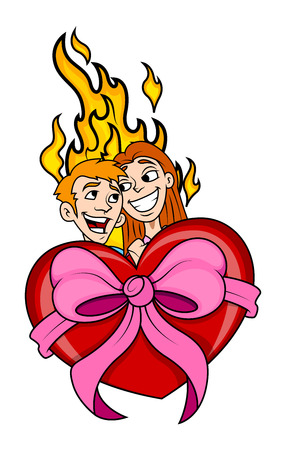 Happy Couple with Heart Gift and Fire Vector