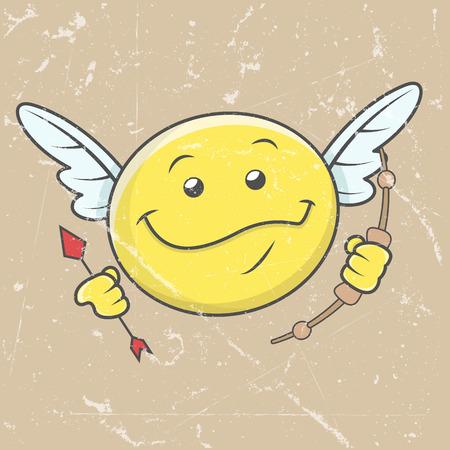 Gelukkig Cupido Smiley - Retro grafische achtergrond Stock Illustratie