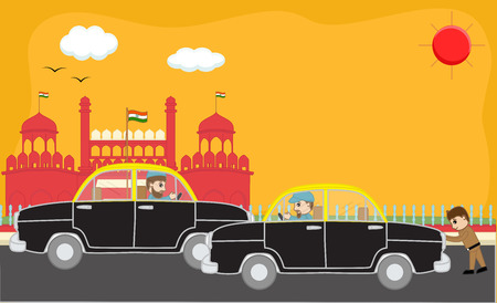 man begging: Traffic on Red Fort - India - Cartoon