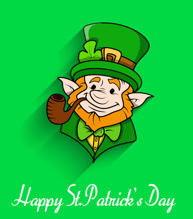 clover face: Leprechaun Smoking Pipe Vector