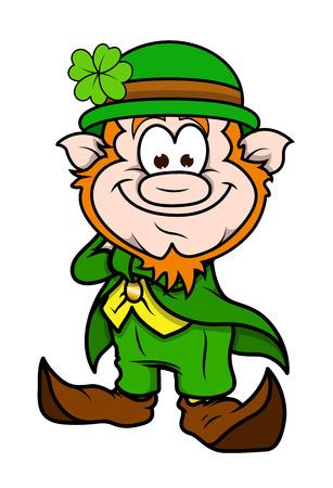Happy Cartoon Leprechaun Character Standing Vector