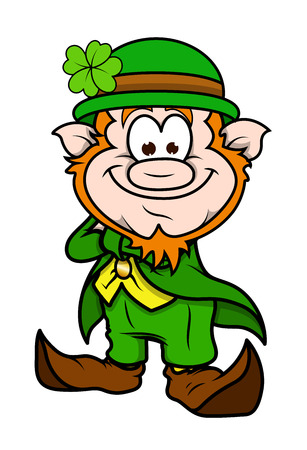 clover face: Happy Cartoon Leprechaun Character Standing