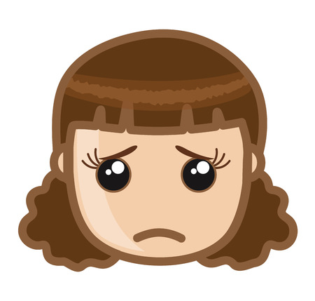 disappoint: Emotional Girl Face Illustration