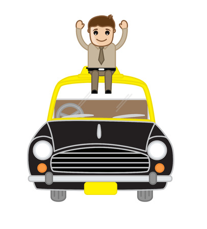 happy businessman: Happy Businessman Sitting Over the Car Illustration