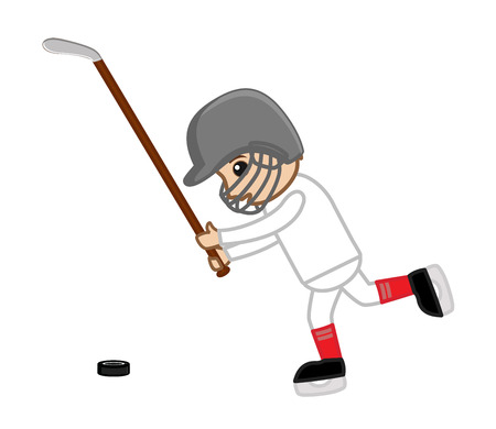 ice hockey player: Ice Hockey Player Playing - Vector Illustration