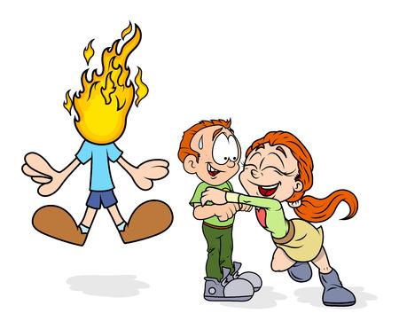 jealous: Happy Cartoon Couple and Jealous Boy