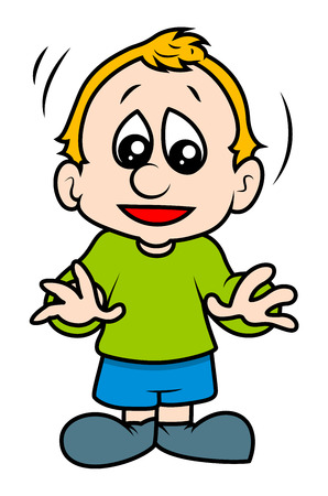 astonished: Cute Small Cartoon Kid Boy Illustration