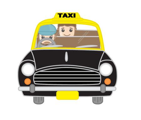 accident woman: Cartoon Taxi Driver con pasajeros Vector Vectores