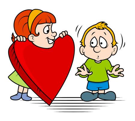 Girl Presenting Heart to a Cute Boy Vector