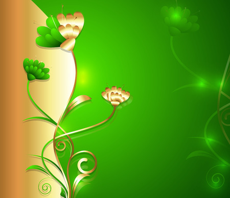 new year s day: Golden Floral Background - Greenish Style Illustration