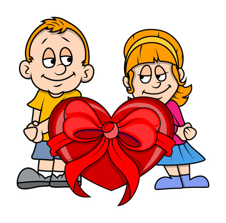 teenage couple: Young Teenage Couple with Heart Gift