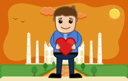 agra: Lover Boy at Taj Mahal - Cartoon Vector Illustration