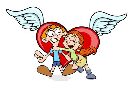 corazon con alas: Pareja de dibujos animados feliz con alas del coraz�n Vectores