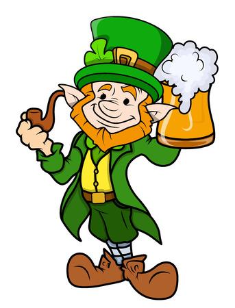 cartoon shamrock: Innocent Leprechaun Holding Beer Mug - Cartoon Illustration