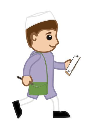 man begging: Walking Indian Cartoon Politician Character Illustration