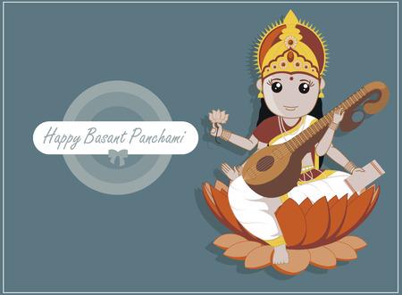 saraswati: Happy Basant Panchami - Indian Goddess Saraswati Festival Illustration