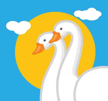 endangered species: Cartoon Swan Birds Couple