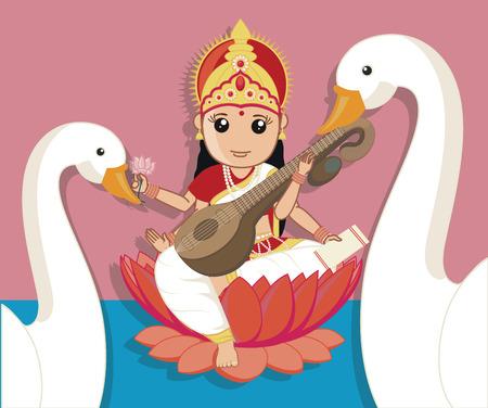 saraswati: Maa Saraswati with Swan Birds Illustration