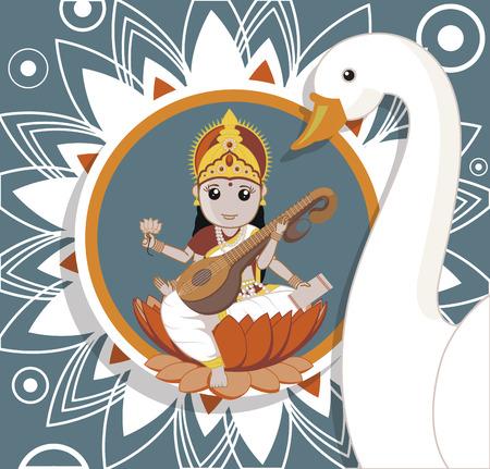 saraswati: Hindu Goddess Saraswati with White Swan Illustration