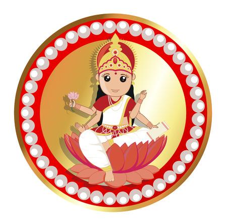 saraswati: Badge of Indian Goddess - Maa Saraswati Illustration