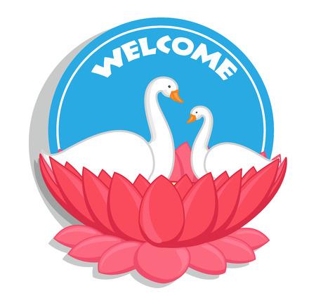 nature beauty: Welcome Banner - Swan Birds in Lotus Flower