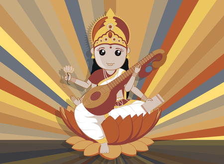 pooja: Hindu Goddess Saraswati for Vasant Panchami Background Illustration