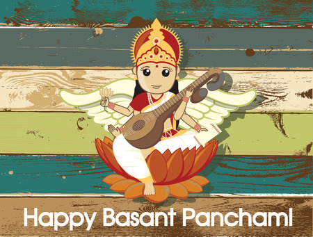 hindu god: Feliz Basant Panchami - Dios hind� Festival Saraswati Vectores