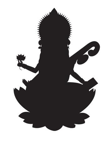 saraswati: Indian Goddess Maa Saraswati Silhouette Illustration